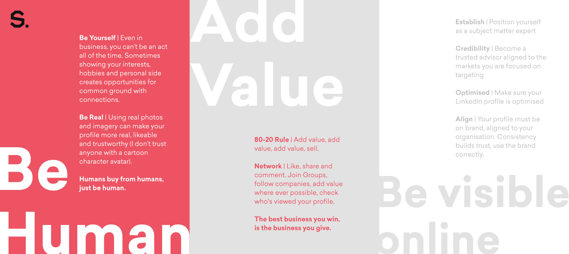 An image of 3 core values for a successful business