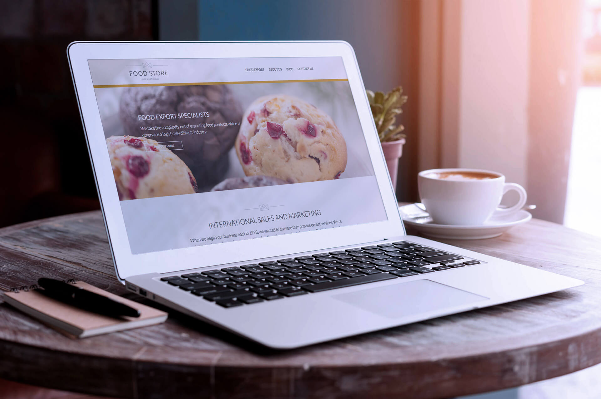 foodstore website design on macbook