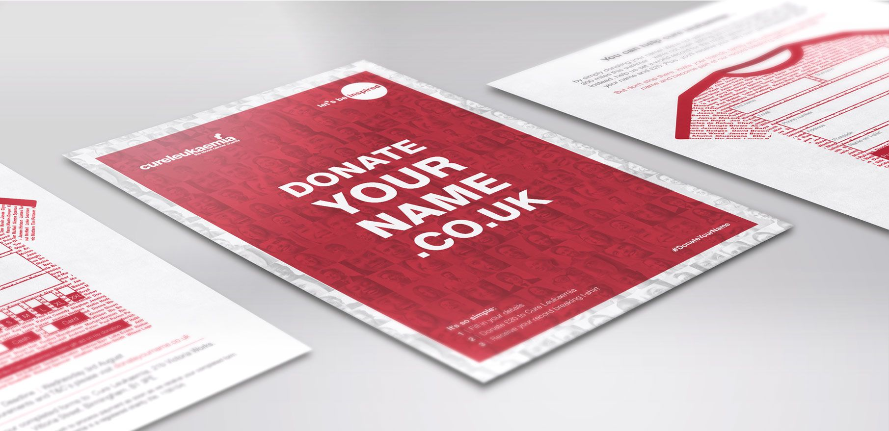 A mockup of Cure Leukaemia's campaign for Donate your name on a flyer
