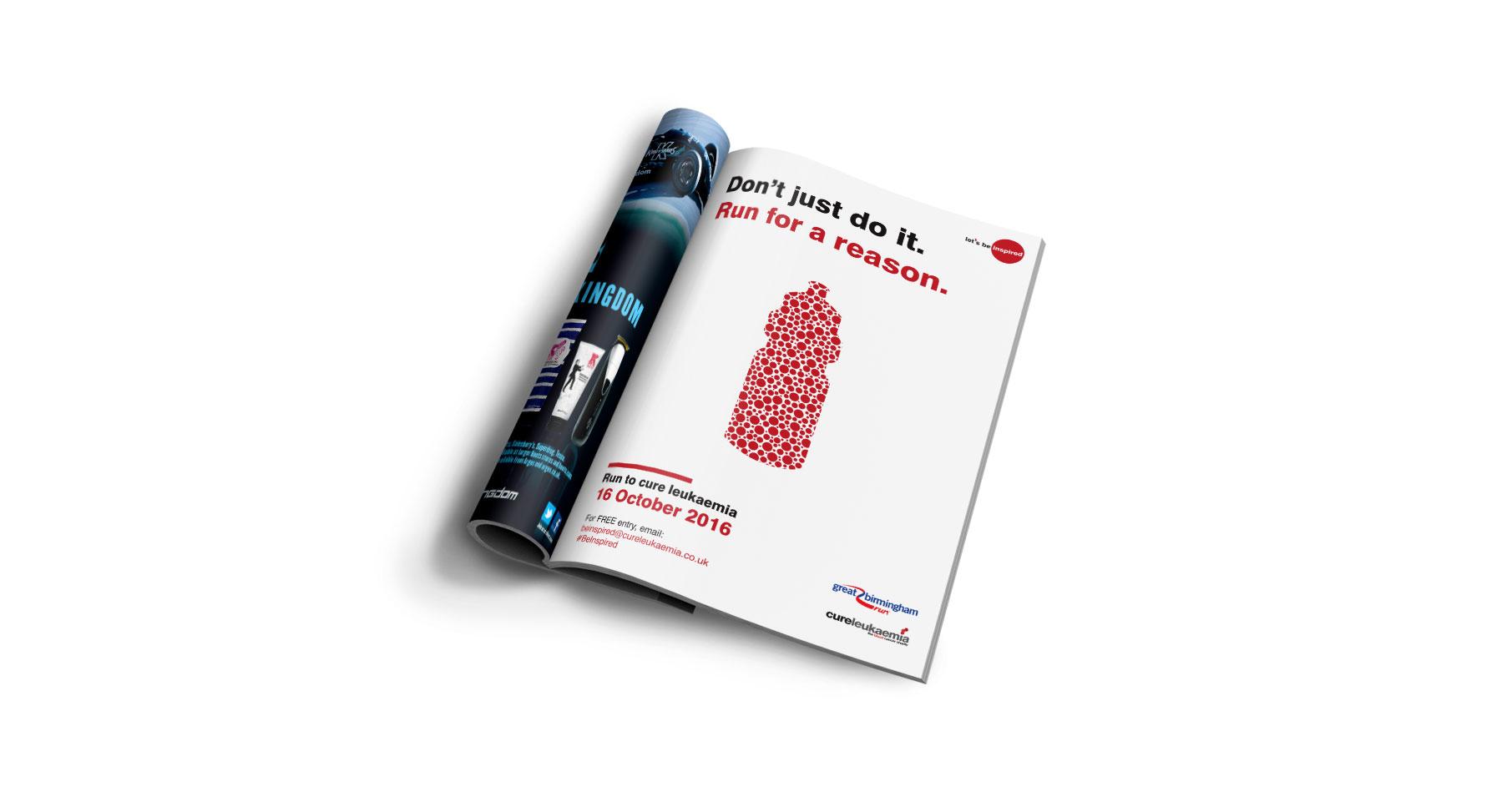 A mockup of Cure Leukaemia's campaign on a magazine