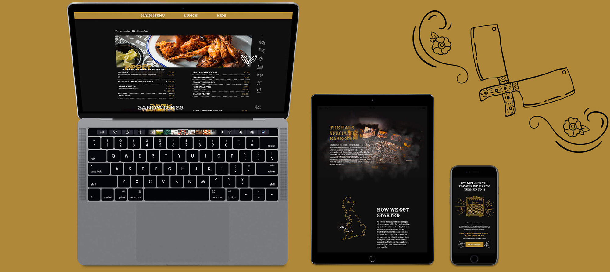 smoke haus responsive website mockups