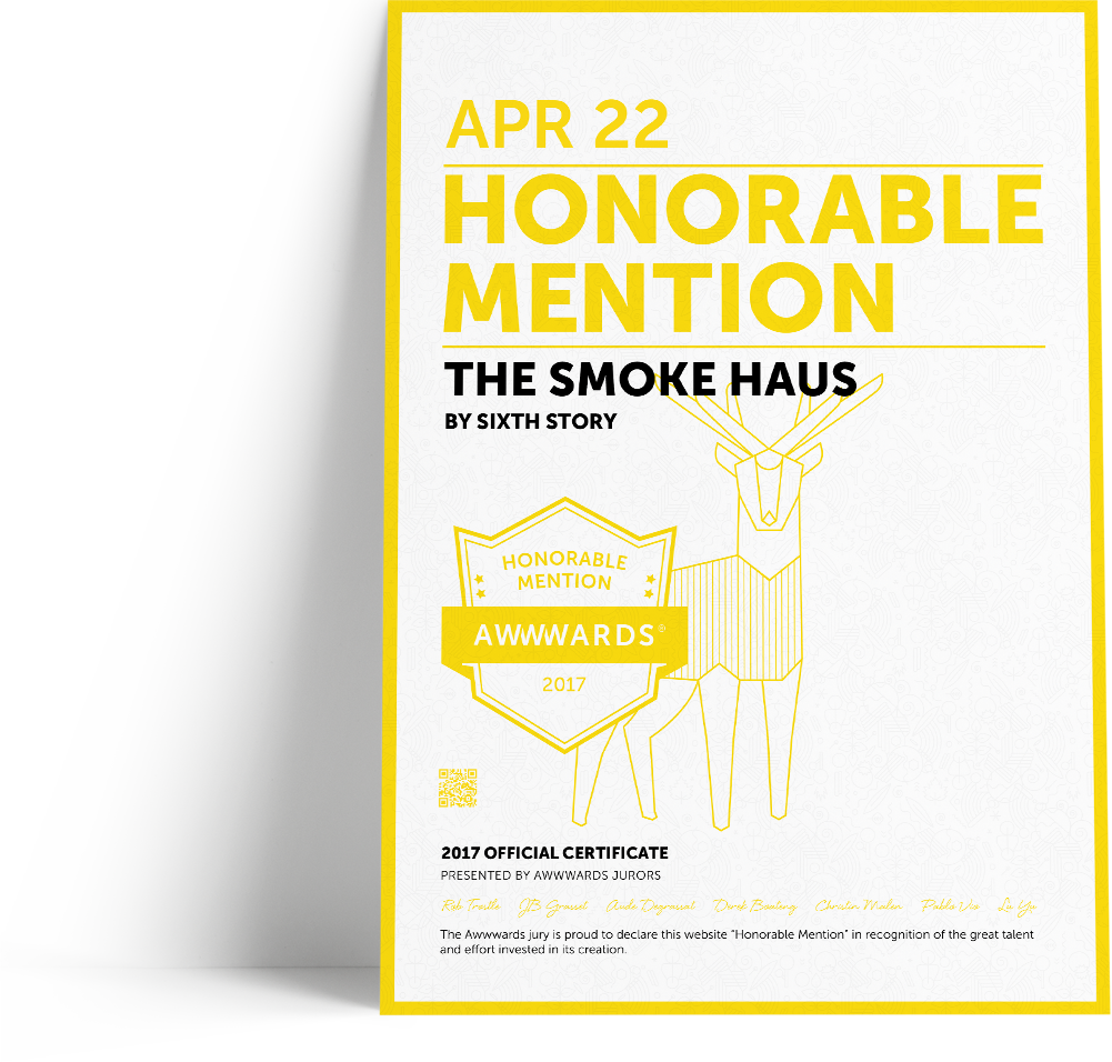 smoke haus website awwwards design award