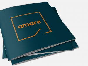 A mockup of Amare's brochure