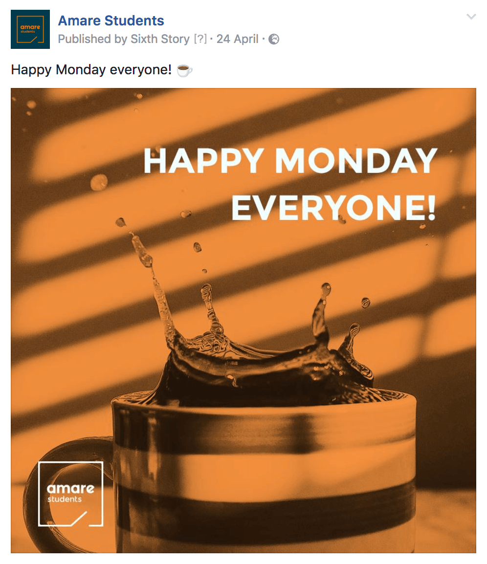 An image of a Facebook post - Happy Monday