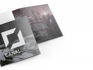 A mockup of Canalside's brochure