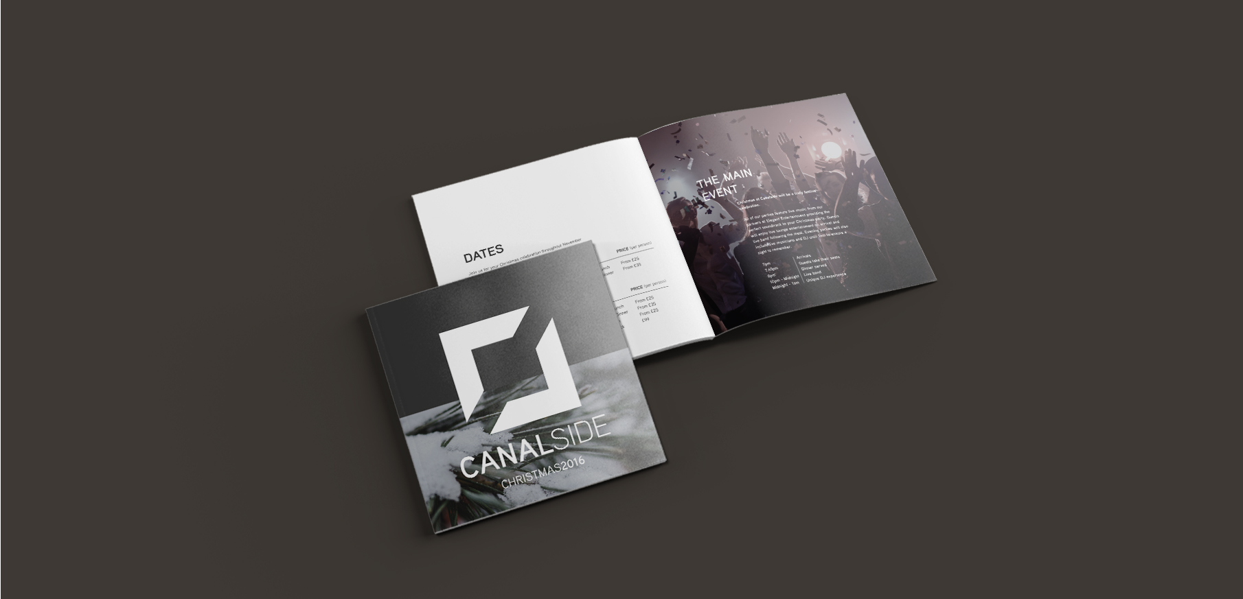 An image of Canalside's brochure design