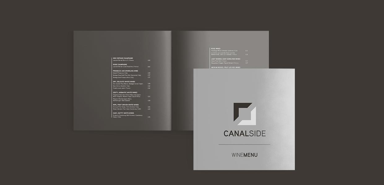 Canalside wine menu