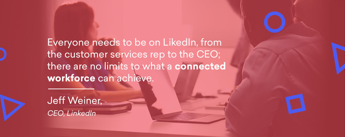 An image with a quote from LinkedIn's CEO