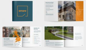 A mockup of Amare's services brochure