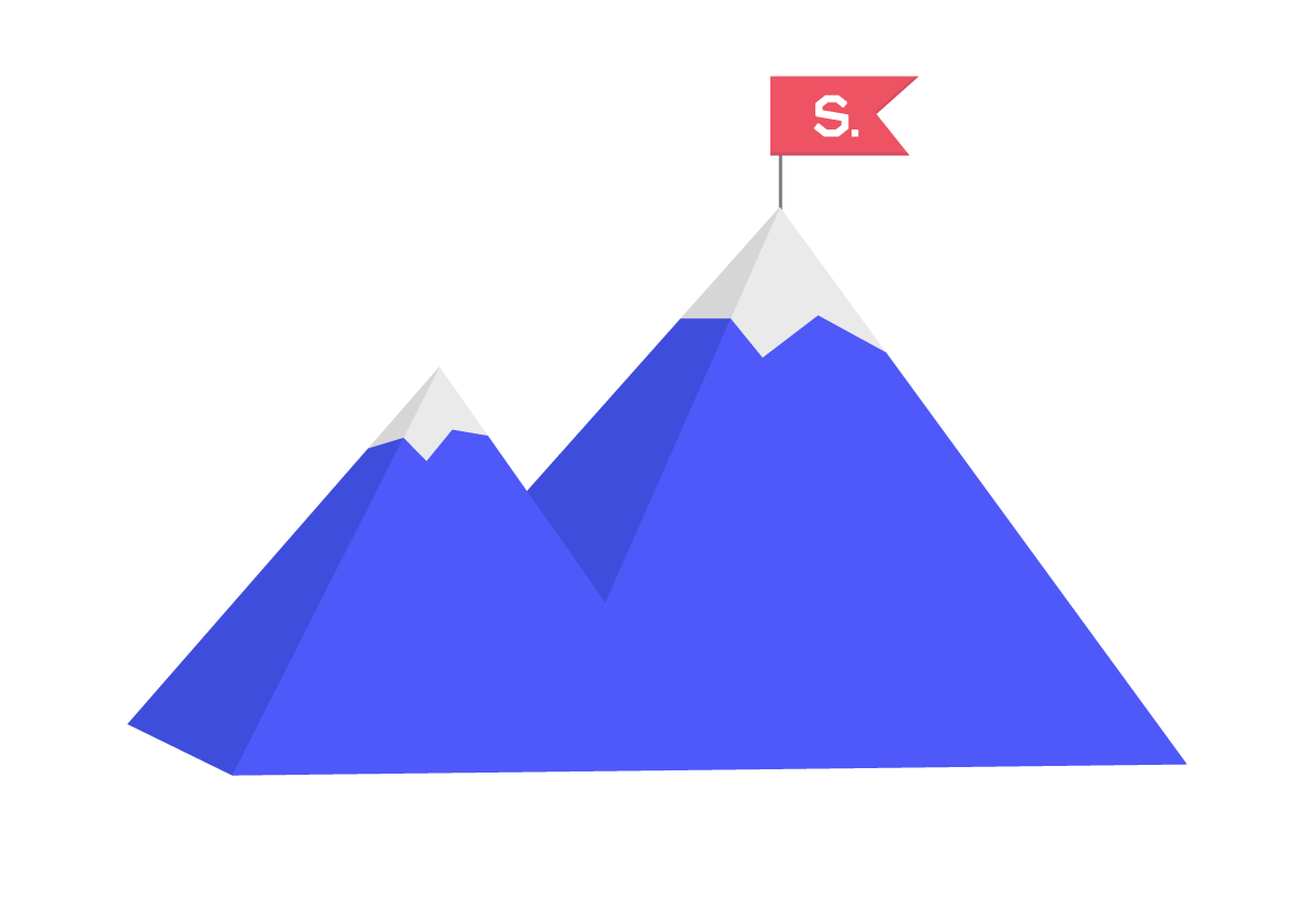 An illustration of a mountain with Sixth Story on the peak