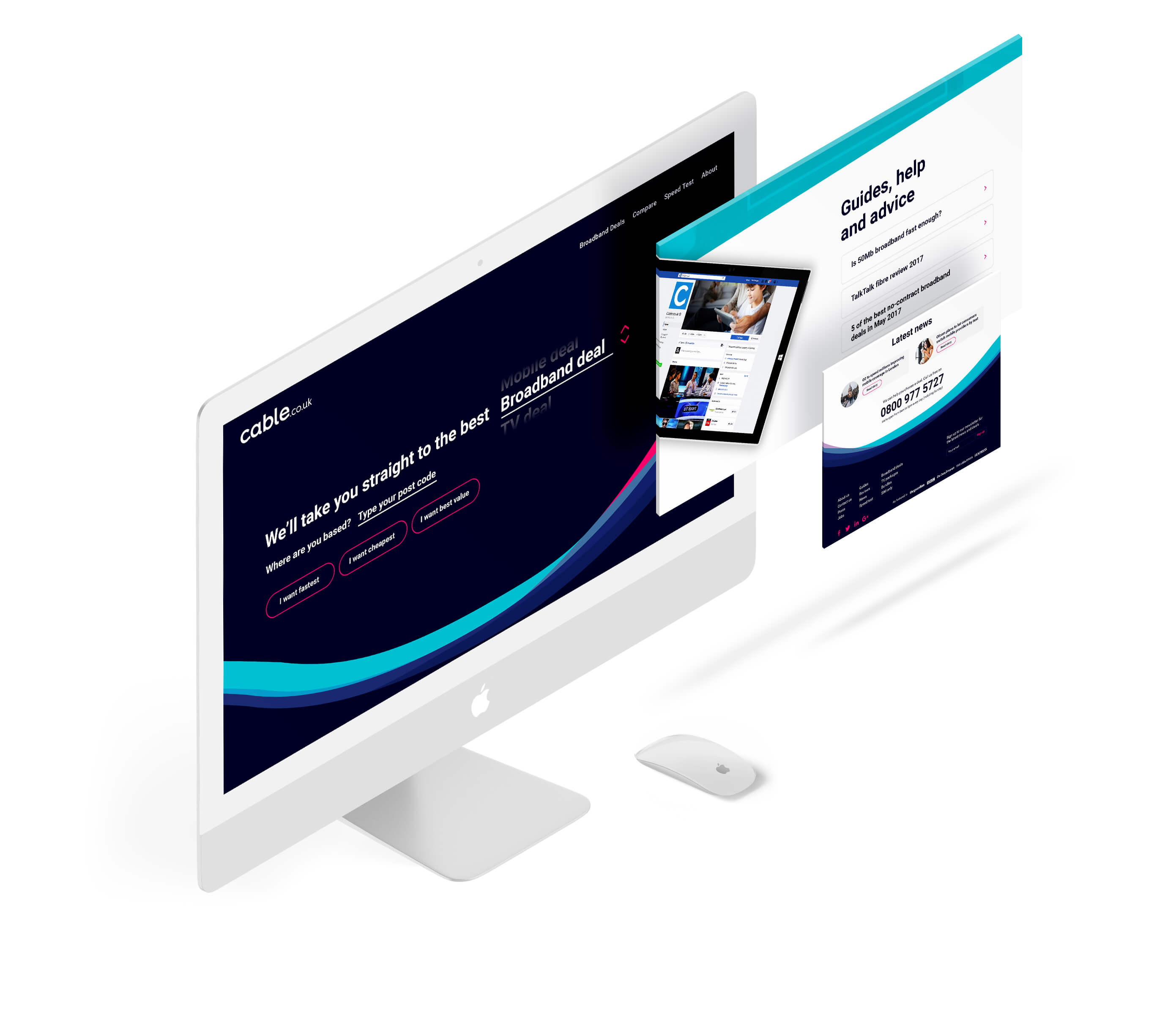 An mockup of Cable.co.uk web design