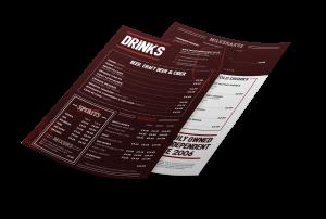 a mockup of Handmade Burger drinks menu