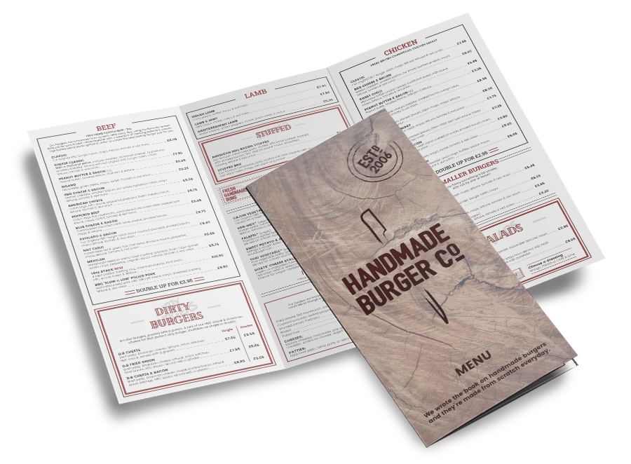a mockup of Handmade Burger food menu