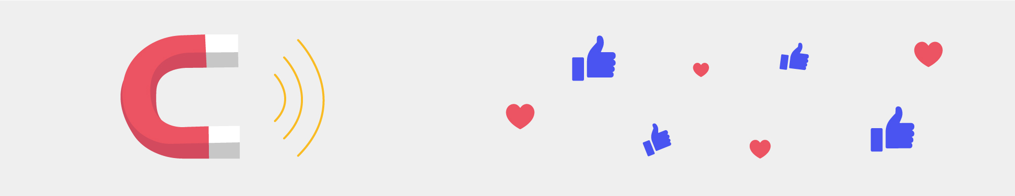 An illustration of a magnet and Facebook reactions