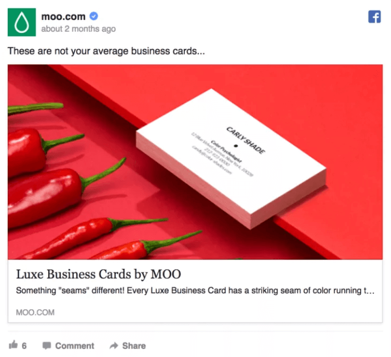 A Facebook ad for Moo