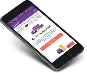 image of clearabee ecommerce website design on a mobile device