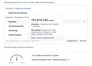 example of Facebook reach for social media marketing