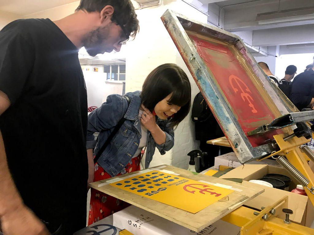 Elisha screen printing at Birmingham Design Fest