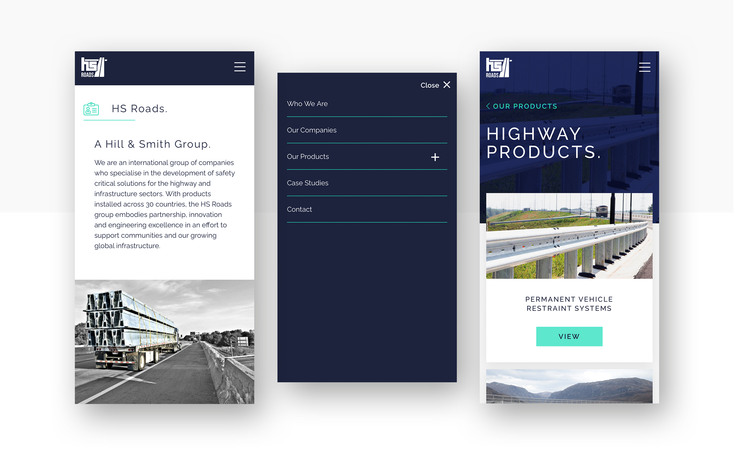Three mobile phone screen mock ups of the HS Roads website.
