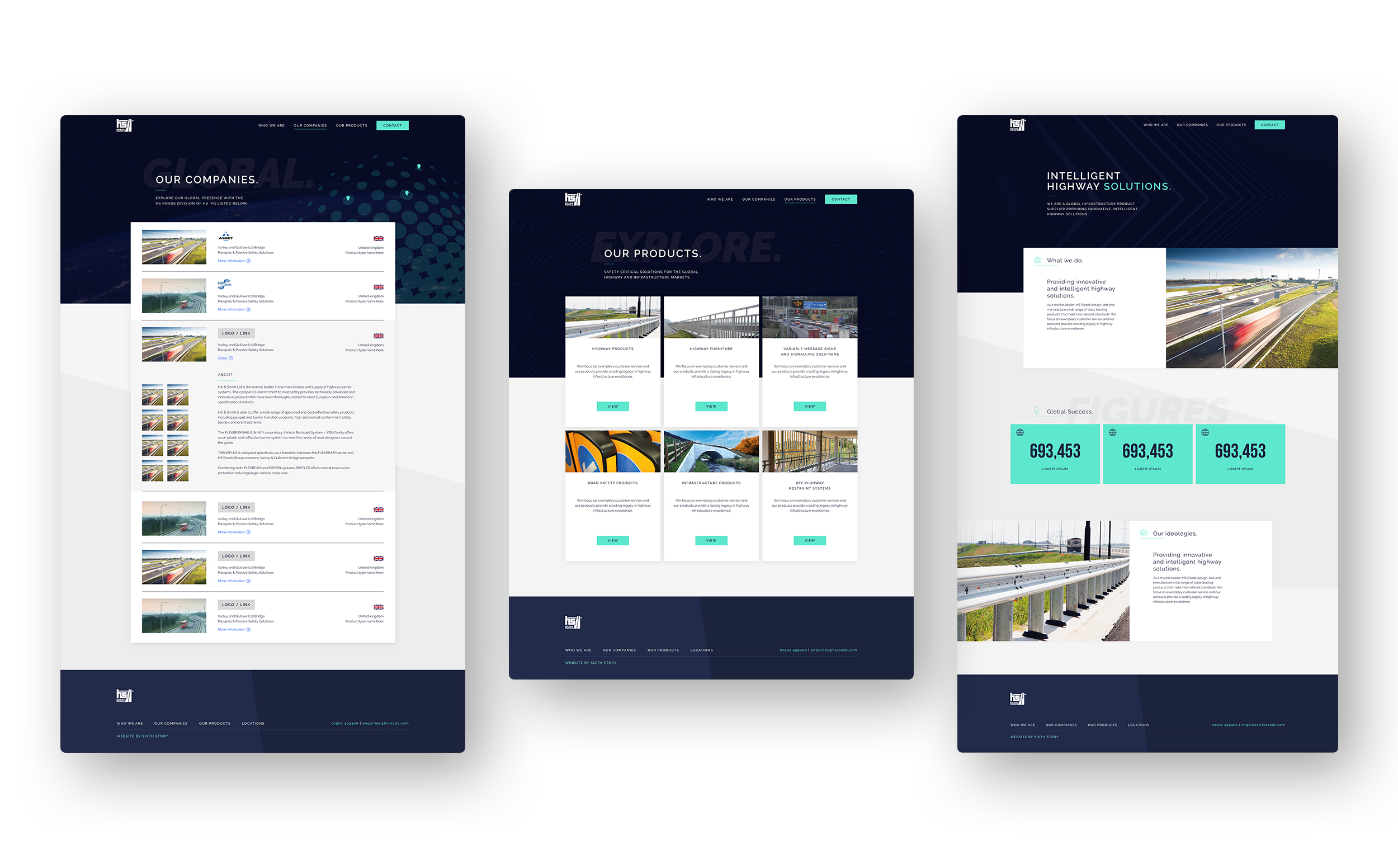 Mockups of the HS Roads Website.